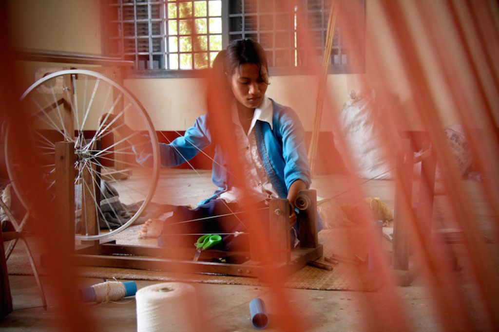 A trainee at a women's development center financed by ADB.